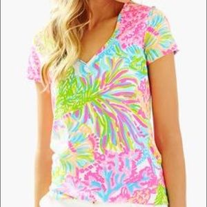 LILLY PULITZER• V-Neck Cotton Tee Shirt